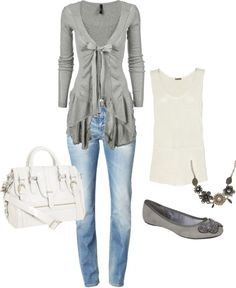"""cute"" by jenifer604 on Polyvore but I'd ditch the flats for some silver booties"