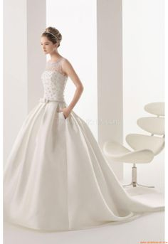 Elegant Bateau Ball Gown Court Train Unique Wedding Dresses Rosa Clara 267  Miren Two 2014 3a74855e8c7d