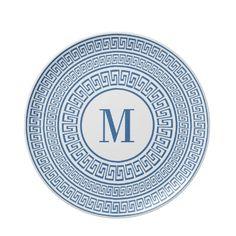 Elegant Blue Greek Key Monogram Plate by TrendyKitchens