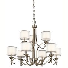 Kichler Lighting Lacey Collection 9-light Antique Pewter 2-tier Chandelier, Grey (Glass)