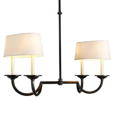 Medium Hook and Line Chandelier with Oval Shades (2 Finishes, four 60watt, candle bulb socket) shadesoflight