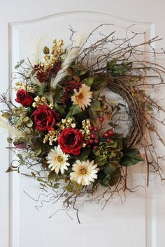 Front Door Twig Wreath, Red Roses, Daisies, Peony, Feathers, Berries,