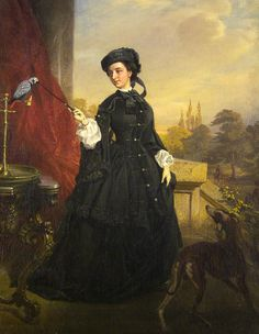 """1860 - """"Lady With a Parrot"""" by Károly Sterio (Bratislava, 1821-1862)"""