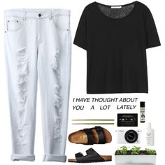 Untitled #19 by briartate on Polyvore featuring T By Alexander Wang, Birkenstock, Fresh, Crate and Barrel, Nikon, boyfriendjeans, blacktee and birkenstocks