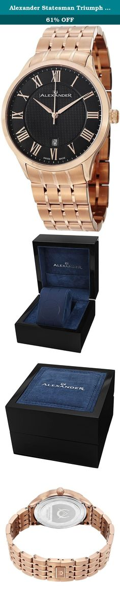 Alexander Statesman Triumph Bracelet Wrist Watch For Men - Black Dial Date Analog Swiss Watch - Stainless Steel Plated Rose Gold Watch - Mens Designer Watch A103B-04. Alexander Story: Alexander was the pupil of the storied Greek philosopher Aristotle. He was intelligent, quick to learn and extremely well read. His personality defined charisma, and his obsession with success allowed him to conquer most of the known world at the time. He left a significant legacy beyond his conquests as he...