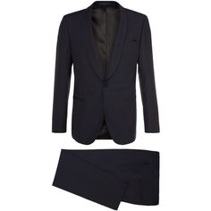 Henry/Glow | Slim Fit, Silk Virgin Wool Tuxedo ($658) ❤ liked on Polyvore featuring women's fashion, pants, slim tuxedo, tux pants, slim fit pants, slim pants and slim fit trousers