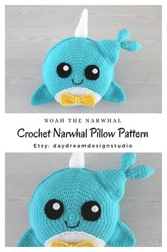 Noah the Narwhal is a crochet pillow that is perfect for a nursery or kids bedroom. He is sweet and energetic and would love to be given as a handmade baby shower gift or child's birthday present. Crochet Baby Jacket, Crochet Baby Beanie, Baby Blanket Crochet, Crochet Whale, Crochet Pillow Pattern, Crochet Patterns, Pillow Patterns, Crochet Gifts, Crochet Toys