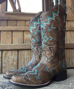 Corral Ladies' Bronze & Turquoise Aztec Square Toe Boot E1024