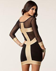 Mini Cross Mesh Dress - Quontum - Gold/black