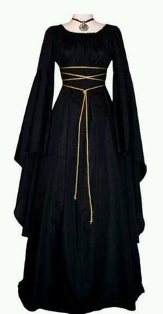 nice Sale ~ Medieval/Renaissance Black Trumpet Sleeve Costume Gown, Custom made to order in your color.