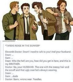 Doctor Who, Sam and the Destiel ship ; Johnlock, Dean Winchester, Misha Collins, Decimo Doctor, Bae, Supernatural Destiel, Supernatural Pictures, Fandom Crossover, Superwholock