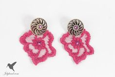 Lace earrings pink by JelyLand on Etsy, €16.00