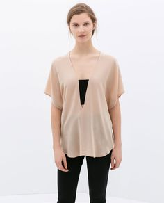Image 1 of COMBINED STRETCH BLOUSE from Zara