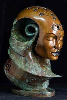 'Moksha' From the Transformation Series, by Andrew Thomas. Patinated Bronze #Sculpture - Limited Edition of 9 - Dimensions: H 30 x W 24 x D 14 CM