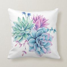 Shop Rustic Watercolor Succulent Throw Pillow created by PaintTheDay. Custom Pillows, Decorative Throw Pillows, Pillow Crafts, Watercolor Succulents, Pillow Room, Fabric Painting, Plant Decor, Soft Furnishings, Flower Art