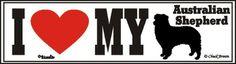 I Love My Australian Shepherd Dog Bumper Sticker available at www.DogLoverStore.com