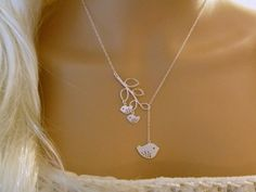 Mommy and Two Baby Birds Necklace - Mother and Child - Branch Lariat - Silver - Mommy Necklace - femmart on Etsy, $27.50
