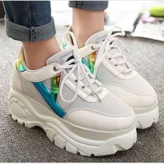 New Fashion Womens Mis Heels Platform Lace Up Casual Sport Sneaker Trainer Shoes