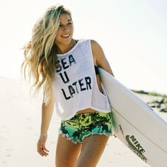 shirt volcom beach sea later shorts california girl beauty summer sports mini shorts white sea you later short green tropical surf sunglasses style summer outfits t-shirt sea u later summer tank top palm tree print Tumblr T-shirt, Style Tumblr, Surf Girls, Surf Mode, Coco Ho, Sup Yoga, Surfer Style, Tumblr Outfits, Beach Babe