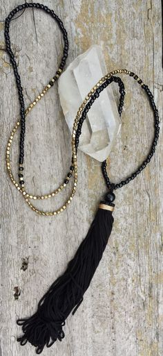 Long tassel necklace from RoieDesigns Tassel Jewelry, Beaded Jewelry, Jewelry Box, Jewelery, Jewelry Accessories, Handmade Jewelry, Jewelry Necklaces, Jewelry Design, Jewelry Making