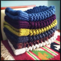 Spiral slouchy loom knit hats. I made about 17 of these for Christmas gifts last year. LOVE this pattern!