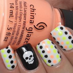 Dotticure with a dark side! Cute and Awesome Manicure by @carlysisoka! Thank you! - Skull #NailVinyls www.snailvinyls.com
