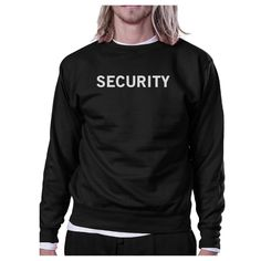 Security Black Sweatshirt Work Out Pullover Fleece Sweatshirts