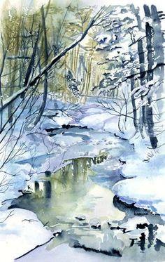 Watercolor Trees, Watercolor Landscape, Landscape Art, Landscape Paintings, Watercolor Paintings, Watercolor Drawing, Watercolours, Painting Snow, Winter Painting
