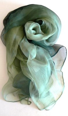 Hand Made Rainbow Veil Pure Silk Scarf Oblong by jingjingdesign, $16.00
