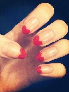 Idée Nail Art pour la Saint Valentin, bout des ongles en coeur