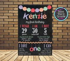 First Birthday Chalkboard Pom Poms // Pastel от MsThirdGrade