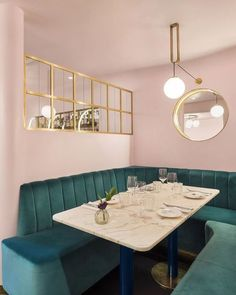North Audley Cantine - Mayfair, London, UK - The Cool Hunter Restaurant Booth Seating, Restaurant Design, Interior Pastel, Cafe Design, Interior Design, Underground Bar, Dining Room Paint Colors, Furniture, Home Decor