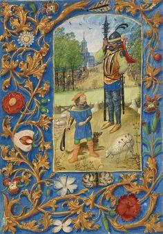 Davide e Golia - Miniatura tratta dal Libro d'Ore Crohin-La Fontaine (Bruges, 1480 – 1485), Getty Museum, Los Angeles.