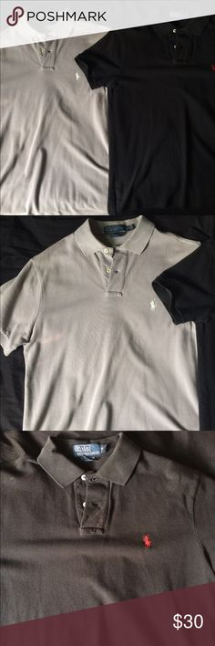 Ralph Lauren Men's Polo's Ralph Lauren's men's polo. Black and grey. Size M. Custom fit! True to size! Grey has slight STAIN! EASY REMOVAL. Offers accepted! Polo by Ralph Lauren Shirts Polos