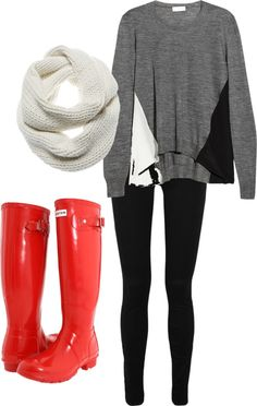 """""""Rainy Day"""" by haleyymariee on Polyvore Aw, I can't wear rain boots because my calves are so awkwardly huge. They should make some ankle bootie types."""