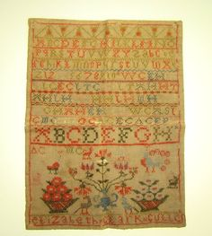 ANTIQUE SAMPLER BY ELISABETH CLARK CULLEN ABOUT 1850
