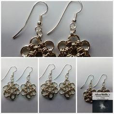 "Sterling Silver ""Daisy"" Earring #JapaneseDaisy #HandmadeInNorway #MatchingSet #AnniversaryGift #ChainmailleJewelry #GiftForHer #ExclusiveSett #SilverEarring #JewelrySet #Japanese12In2 Daisy Bracelet, Daisy Ring, Silver Earrings, Drop Earrings, Anniversary Gifts, Jewelry Making, Jewels, Sterling Silver, Unique Jewelry"