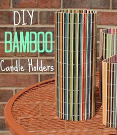 DIY Bamboo Candle Holders!  Simple dollar store project that costs only $2 each!