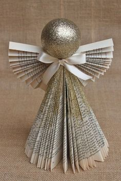 Another Paper Angel Ornament Christmas Angels, Christmas Art, Christmas Projects, Christmas Holidays, Christmas Ornaments, Christmas Ideas, Angel Crafts, Book Crafts, Holiday Crafts