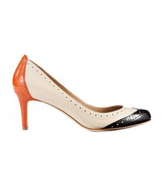 Ann Taylor Perfect Colorblocked Patent Leather Kitten Heels