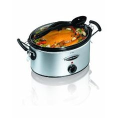 Hamilton Beach 6qt slow cooker. Its stainless steel and it has a locking lid (not to be used while cooking) so you don't have to worry about spills while traveling with it.