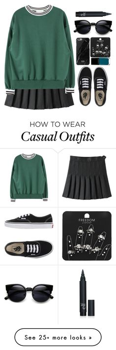 """""""#161 casual"""" by theyoumi on Polyvore featuring Vans, Illamasqua, Topshop, women's clothing, women, female, woman, misses and juniors"""