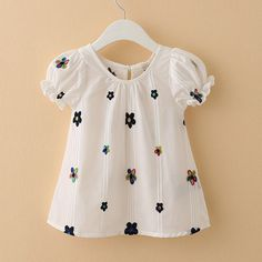 Child Summer Embroidery Little Flower Short Sleeve Girls Babydoll Children T Shirt Style Skirt Kids Dress Wear, Dresses Kids Girl, Kids Outfits Girls, Girls Party Dress, Shirts For Girls, Girl Outfits, Frock Design, Baby Dress Design, Baby Frocks Designs