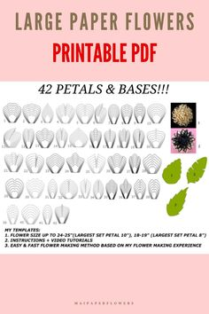 This paper flower printable template bundle is to make big paper flowers with Printer. Save costs for your paper flowers craft with my templates and tutorial! #paperflowerprintable #paperflowerprintabletemplate #paperflowertemplate #bigpaperflowertemplate #bigpaperflowerprintable #bigpaperflowers #paperflowerdiy #paperrflowersmaking #paperflowerscraft Large Paper Flower Template, Flower Petal Template, Paper Flower Tutorial, Big Paper Flowers, Giant Paper Flowers, Printable Templates, Printable Paper, Flower Words, Flower Petals