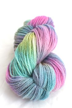 Opal - Hand Dyed Yarn - Hand Painted Wool  - Green - Pink - Blue - Purple - Worsted. £12.50, via Etsy.