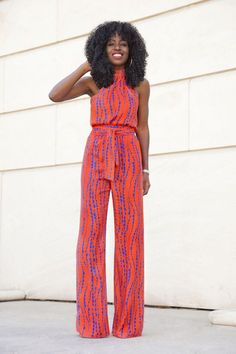 Switch out your sundress for a bold print jumpsuit. Coral and blue jumpsuit. Stitch Fix  Wantable fashion Summer 2016