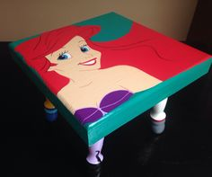 Ariel Little Mermaid Furniture Bedroom Playroom Ottoman Child Seat, Hand Painted Square Footstool, Ursula, Prince Eric, Sebastian, Flounder by HukiPooks on Etsy https://www.etsy.com/listing/247612345/ariel-little-mermaid-furniture-bedroom
