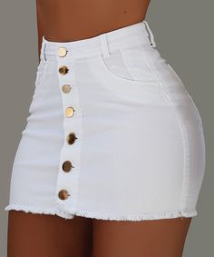OFF Jeans Skirts Buttons High-Waist Mini Fashion Women Summer Strench All-Matching Denim Trend Fashion, Teen Fashion Outfits, Swag Outfits, Cute Casual Outfits, Stylish Outfits, Girl Outfits, Fashion Women, Fashion Skirts, Women's Fashion