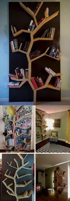 DIY tree bookshelf Easy DIY Bookshelf Ideas and Plans Unique Bookshelves, Ladder Bookshelf, Floating Bookshelves, Diy Ladder, Wood Bookshelves, Bookshelf Design, Bookshelf Ideas, Tree Bookcase, Diy Simple