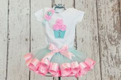 First Birthday Baby Girl Onesie/T-Shirt w/ 3D Cupcake & Rhinestone Age Number-Matches Aqua and Pink Ribbon Trim Tutu (TUTU NOT INCLUDED)